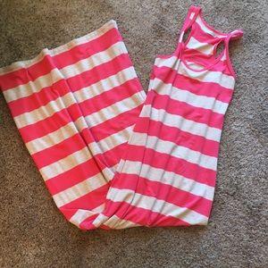Maurice's striped tank maxi dress w tan & coral